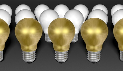 Rows of golden and white light bulbs on grey background