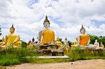 Buddha statue in temple at Supanburi, Thailand