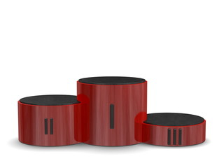 Red reflective cylindrical podium, Roman numerals. Front view
