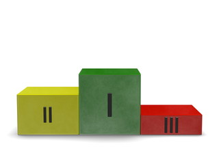 Podium of smoky green, yellow, red cubes, Roman numerals. Front