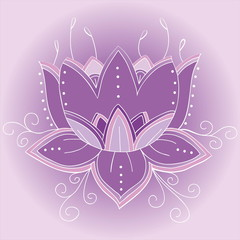 Violet lotus flower isolated on white. Vector art