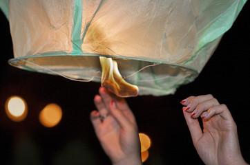 Chinese kongmin light lantern launch