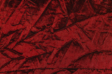 Red wrinkled cloth.