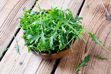 Fresh arugula in a bowl