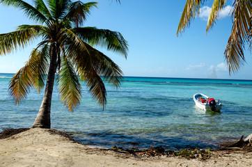 Caribbean beach with boat