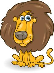 funny lion cartoon illustration