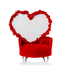 Heart on the couch. Valentines Day