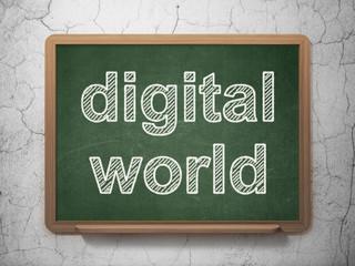Information concept: Digital World on chalkboard background