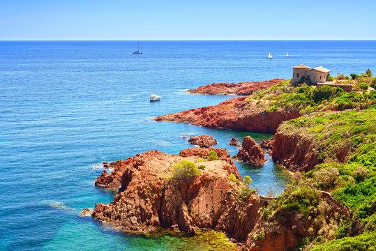 Esterel rocks beach coast and sea. Cote Azur, Provence, France.