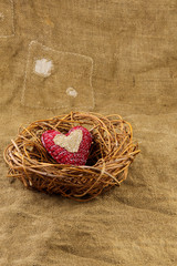 One handmade heart in the nest