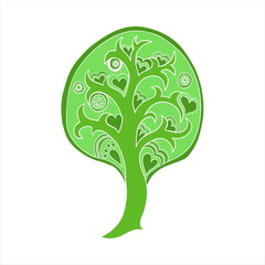 Green tree isolated on white. Vector element