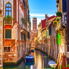Poster Venice Venice cityscape, water canal, campanile church and traditional