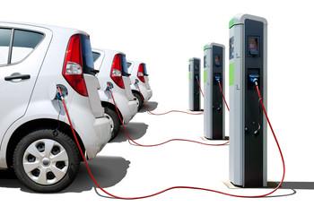 Elektroautos Flotte an Stromtankstelle - Electric Cars Charging