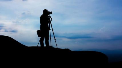 Take photo on the mountain