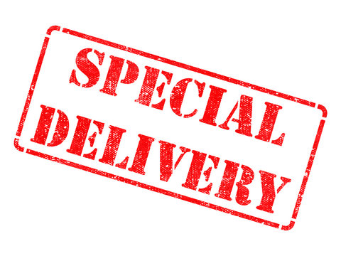 Special Delivery on Red Rubber Stamp.