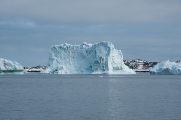Icebergs floating in Disko, North Greenland