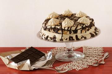 Wall Mural - Meringue cake with mascarpone cream and chocolate