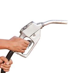 Gasoline fuel on white background