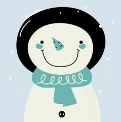 Cute retro stylized hand drawn Snowman