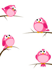 Set of cute pink birds