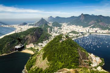 Canvas Print - Blick vom Zuckerhut mit Seilbahn, Rio, Brasilien
