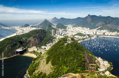 Wall mural Blick vom Zuckerhut mit Seilbahn, Rio, Brasilien