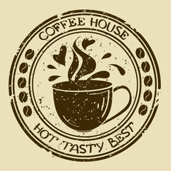 Coffee house stamp with cup