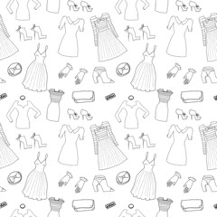 Women fashion clothes and accessories seamless pattern