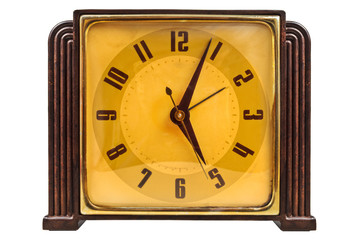 Bakelite art deco clock isolated on white