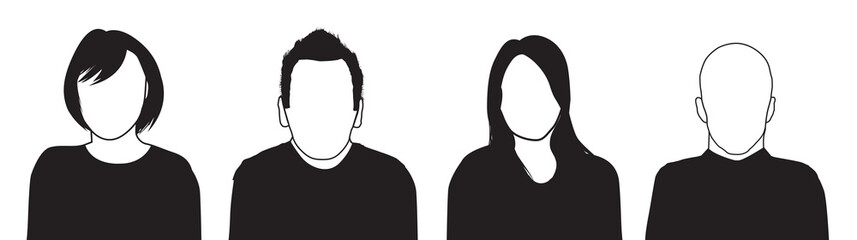 a set of four people silhouettes