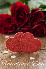 Grußkarte mit Herzen und Rosen