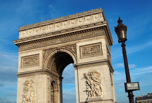 Paris, plaque de rue  et Arc de triomphe