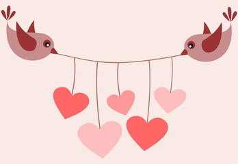 Birds with Valentine or wedding garland.