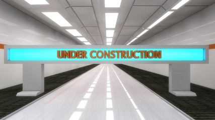 Under construction futuristic corridor