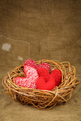 Knitting hearts in the nest