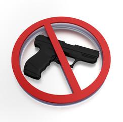 Prohibited sign - gun ban