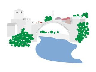 Mostar, old town vector illustration