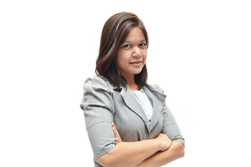 Working business woman portrait on white background