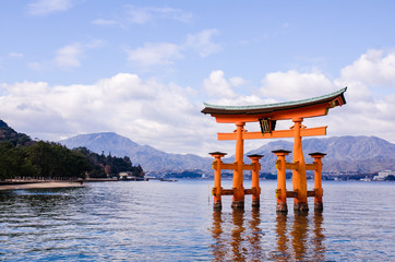 a big Torii gate at Miyajima, Japan