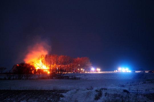 Farm burning down
