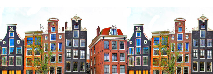Fototapeta Amsterdam . traditional houses border