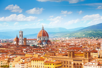 Aluminium Prints Florence Panorama of Florence and Saint Mary