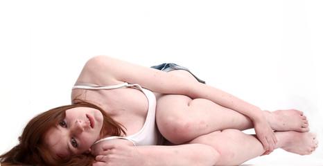Teenage girl on the floor