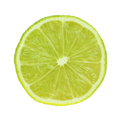 Slice of fresh lime, isolated on white