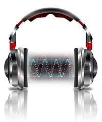 Realistic headphones with music waves