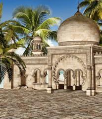 Orientalny budynek z palmami