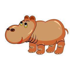 A funny cartoon hippopotamus