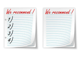 """Lined paper with the words """"we recommend"""" - vector"""