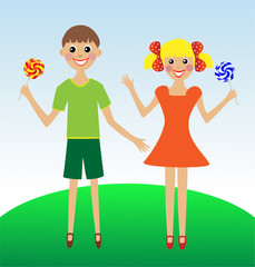 merry  girl and boy in summer  with lollipop