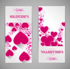 abstract valentine banners with heart and long shadow effect